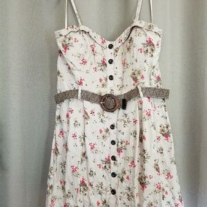 Debs NWT 3X belted button up dress khaki
